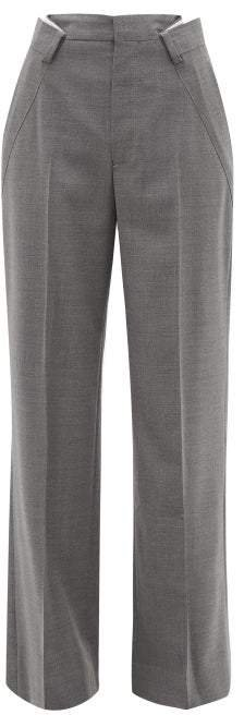 Distorted Pleat Wool Blend Trousers - Womens - Grey