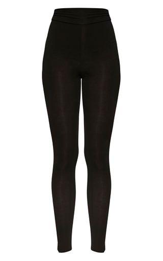 Basic Black High Waisted Jersey Leggings | PrettyLittleThing