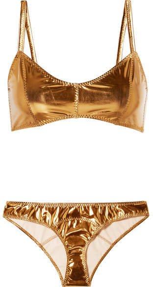 Genevieve Metallic Stretch-pvc Bikini - Bronze
