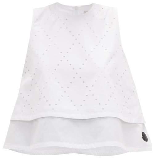 6 Moncler Perforated Sleeveless Poplin Blouse - Womens - White