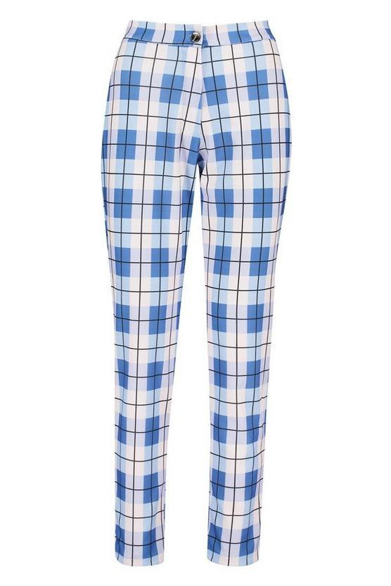 Check Tailored Tapered Trouser | Boohoo blue