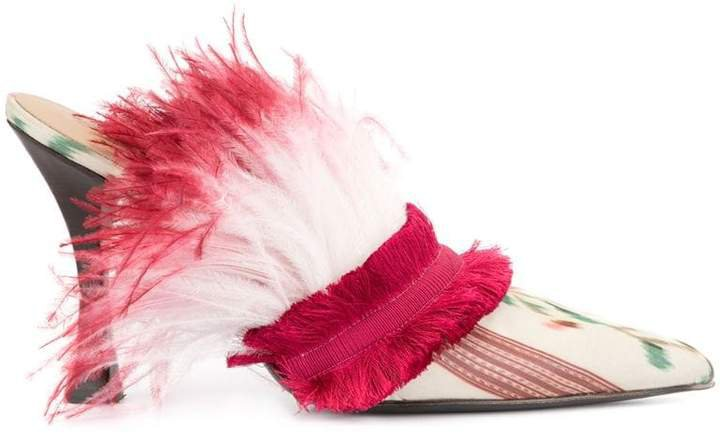 feather lined printed pumps