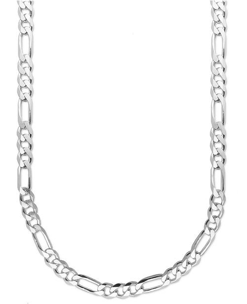 "Macy's Men's Sterling Silver Necklace, 22"" 8mm Figaro Chain & Reviews - Necklaces - Jewelry & Watches - Macy's"