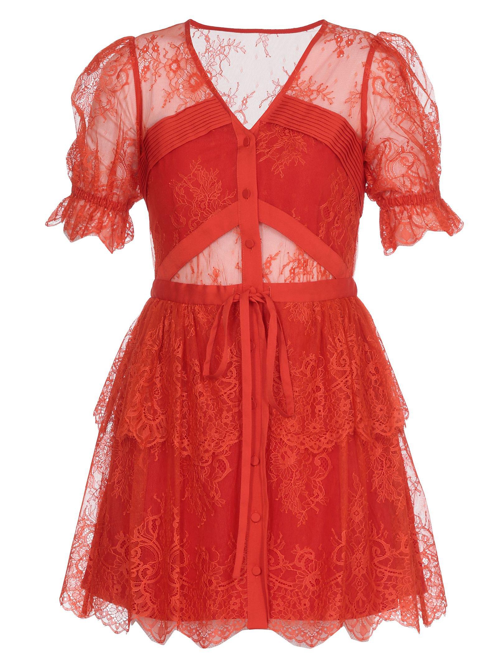 self-portrait Laced Mini Dress