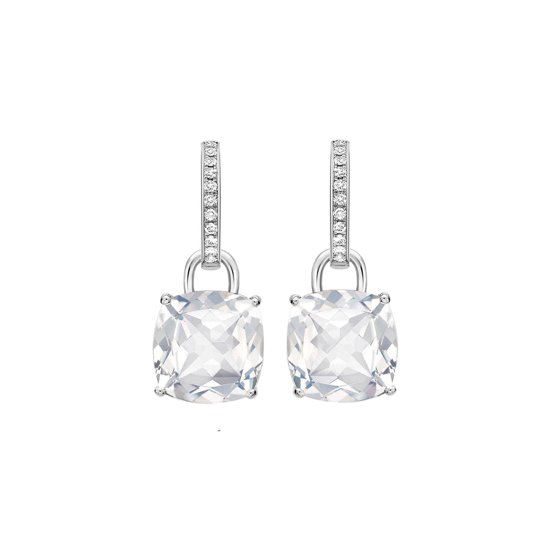 Kiki Classic White Topaz and Diamond Cushion Drop Earrings in White Gold - Kiki McDonough Jewellery - Sloane Square London | Kiki McDonough : Kiki McDonough Jewellery – Sloane Square London | Kiki McDonough