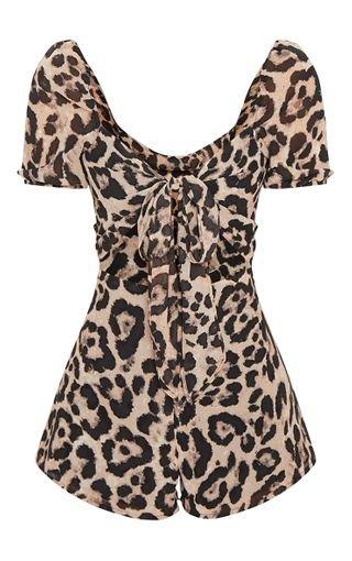 Leopard Tie Front Romper | PrettyLittleThing USA