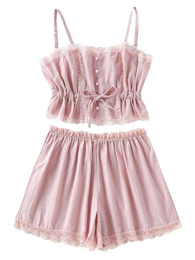 Women's Lace Cami and Shorts Pajamas Set Sleepwear Nightwear X-Large Pink at Amazon Women's Clothing store: