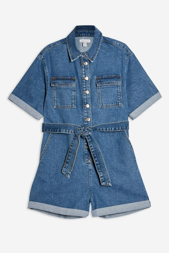 PETITE Blue Denim Button Romper | Topshop blue