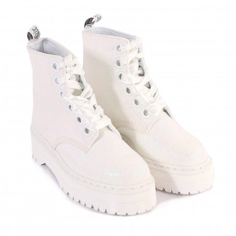 Dr Martens Women's Quad Retro Molly Glitter Lace Up Boot Iridescent White