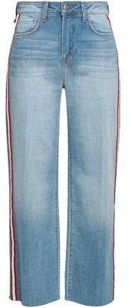 Striped High-rise Wide-leg Jeans