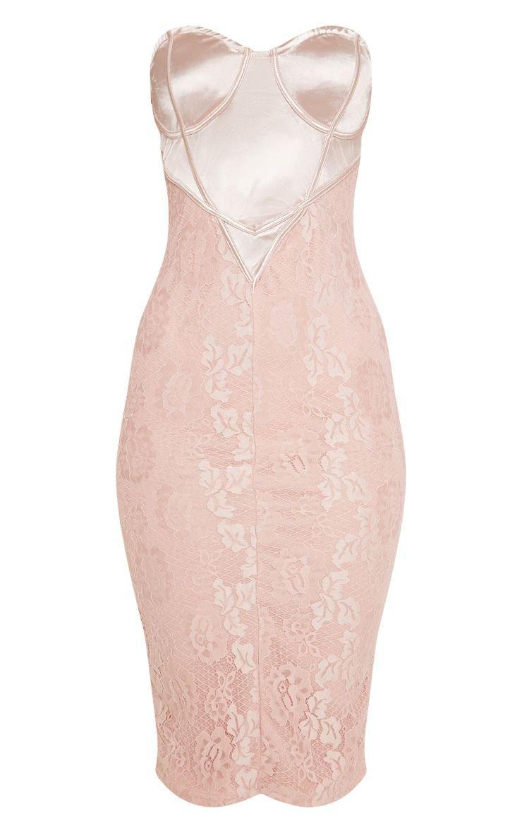 Dusty Pink Satin Bustier Lace Midi Dress | PrettyLittleThing USA