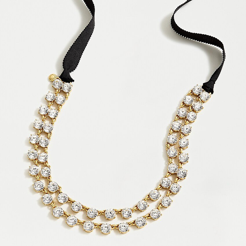 J.Crew: Layered Crystal Ribbon Tie Necklace