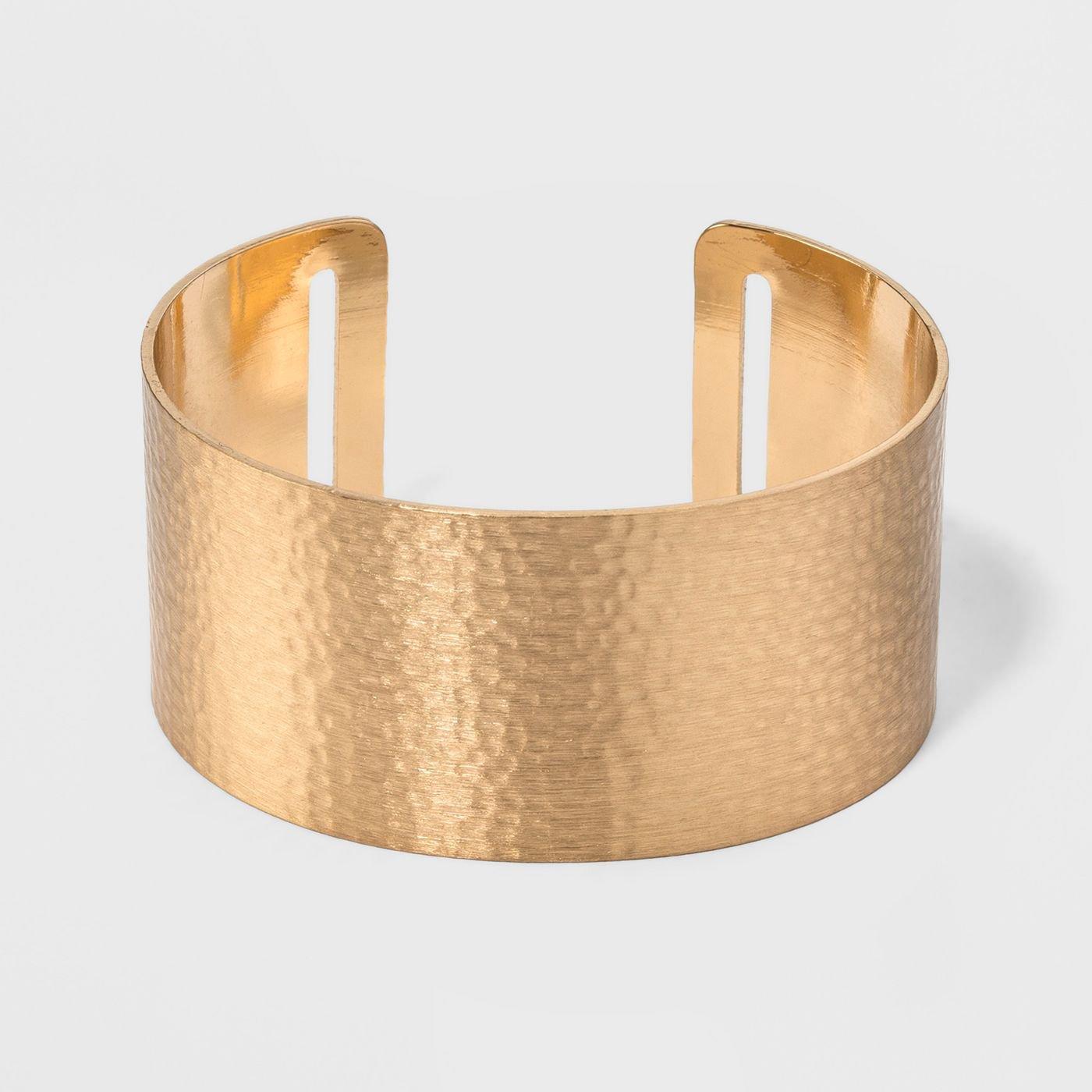Open Cuff Hammered Metal Bracelet - Universal Thread™ Gold : Target