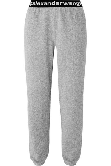 T by Alexander Wang | Intarsia-trimmed stretch cotton-blend corduroy tapered track pants | NET-A-PORTER.COM