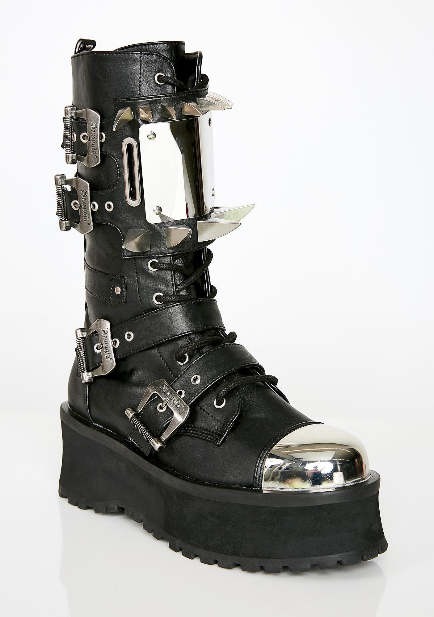 Mad Max Mens Spike Chrome Platform Boots | Dolls Kill
