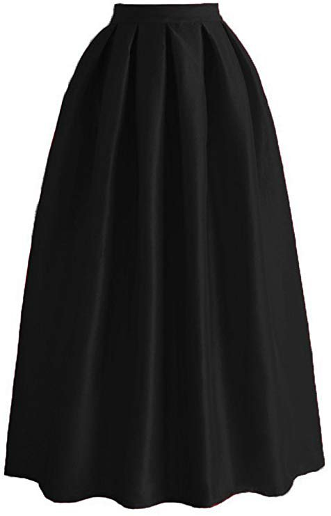 Omelas Women Pleated Maxi Skirt Satin Skirts High Waisted Long Black at Amazon Women's Clothing store