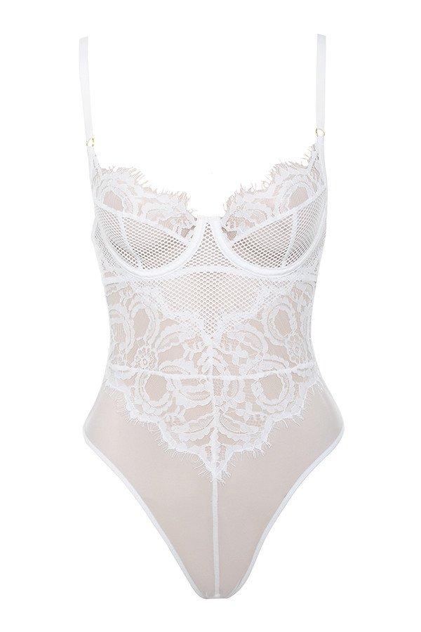 House of CB | 'Nadia' White Lace Bodysuit