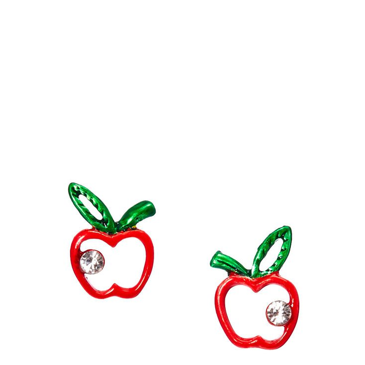 Sterling Silver Crystal Apple Earrings | Claire's US