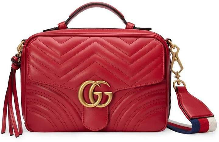 Red GG Marmont Stripe shoulder bag