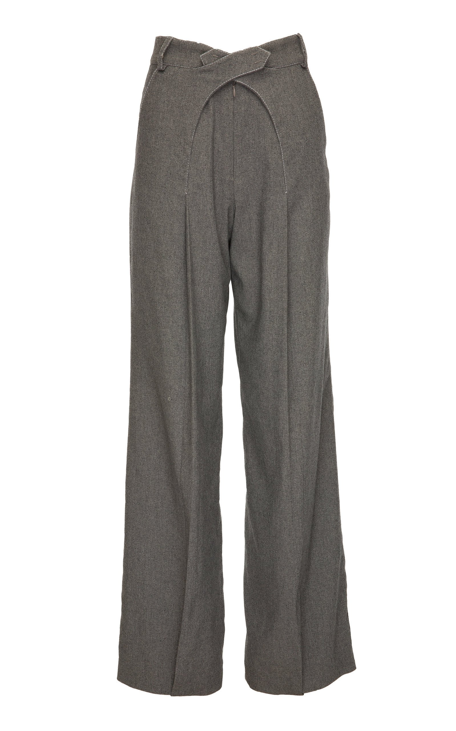 SITUATIONIST High-Rise Cross Front Wool Pant