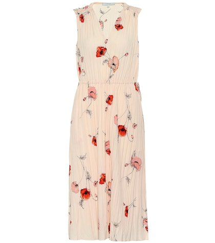 Tossed Poppy pleated crêpe dress