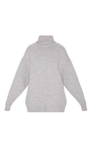 Grey High Neck Fluffy Knit Jumper   Knitwear   PrettyLittleThing