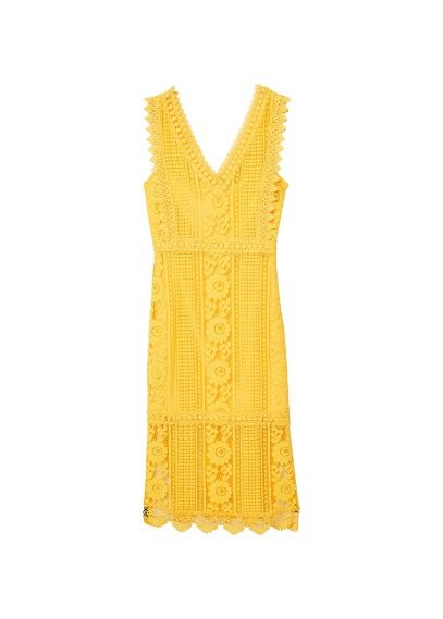 MANGO Blond-lace appliqué dress