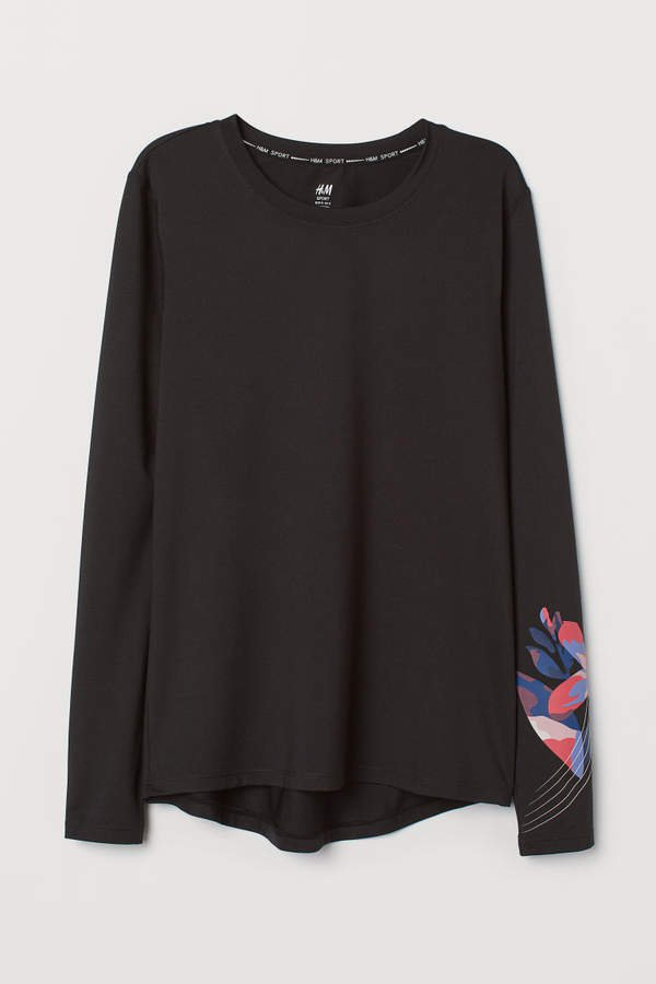 Long-sleeved sports top - Black
