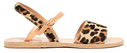 Kaliroi Leopard Print Calf Hair Sandals - Womens - Leopard