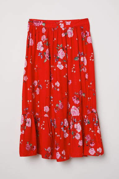 Patterned Flounced Skirt - Red