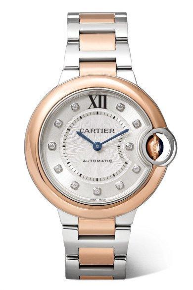 Cartier | Ballon Bleu de Cartier 33mm 18-karat pink gold, stainless steel and diamond watch | NET-A-PORTER.COM