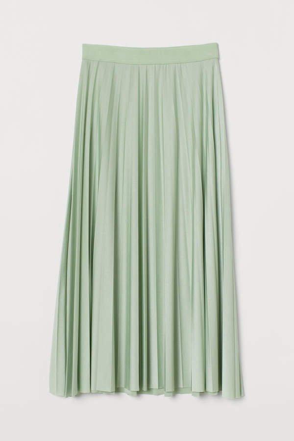 Pleated Jersey Skirt - Green