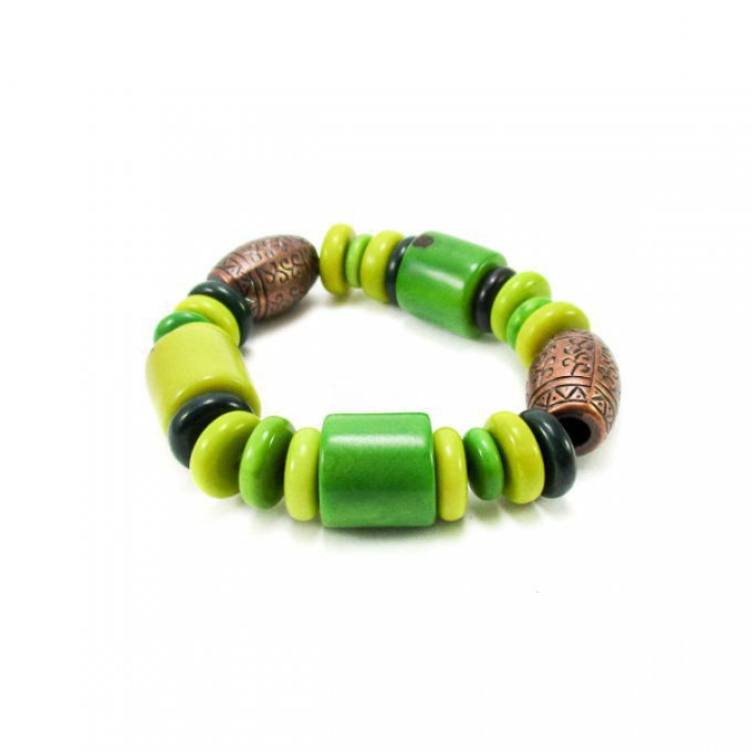 Bracelet manchette ivoire végétal vert clair - tagua