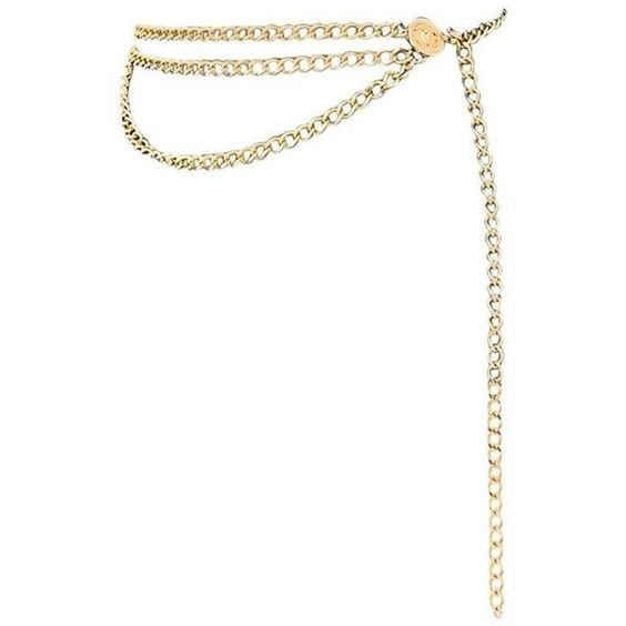 Chanel Gold 3 Layer Chain Medallion Belt Necklace