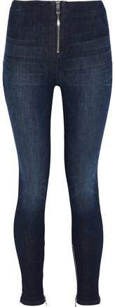 Zip-detailed Mid-rise Skinny Jeans