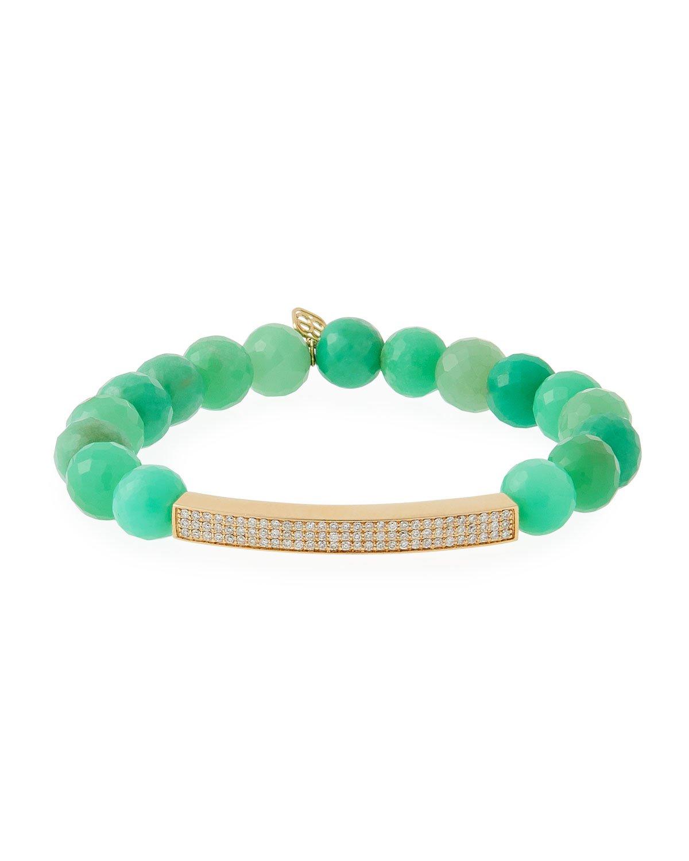 Sydney Evan 3-Row Diamond & Chrysoprase Bracelet