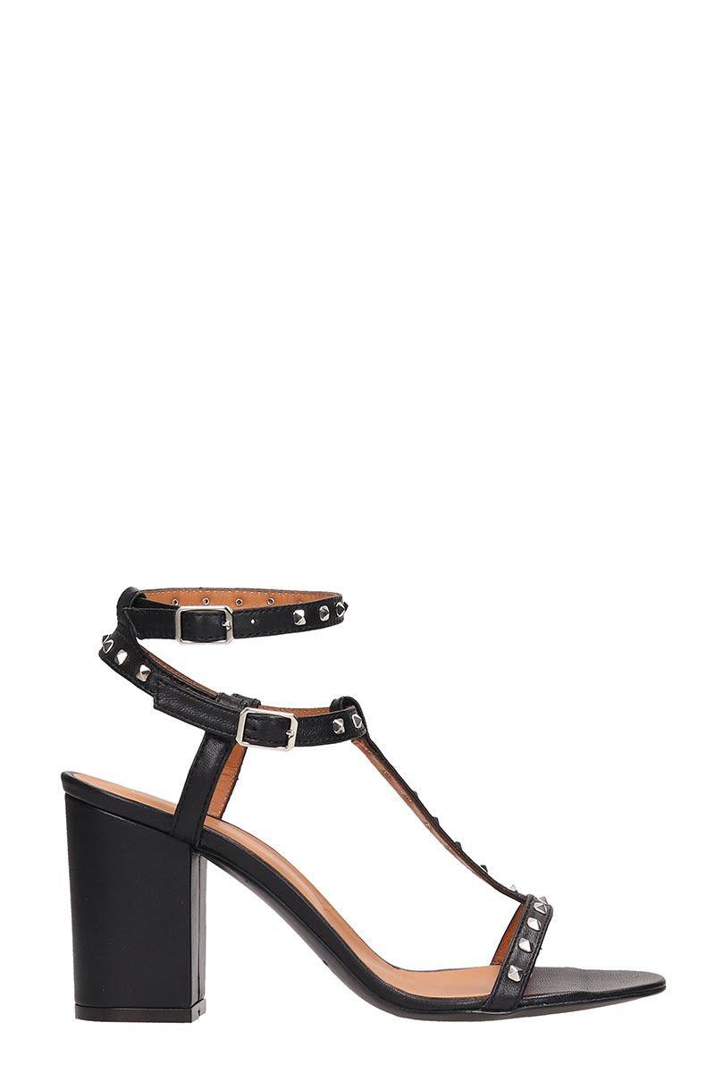 Via Roma 15 Black Leather Sandals