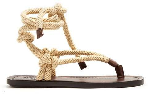 Nu Pieds Rope And Leather Sandals - Womens - Dark Brown