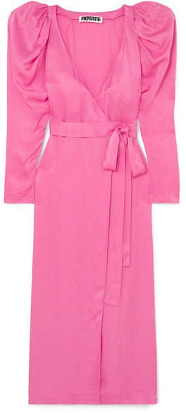 ROTATE - Pleated Satin Wrap Maxi Dress - Pink