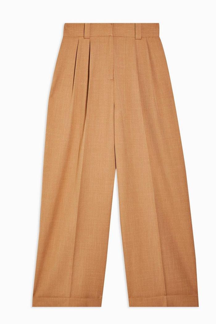 Camel Elastic Back Wide Leg Trousers   Topshop