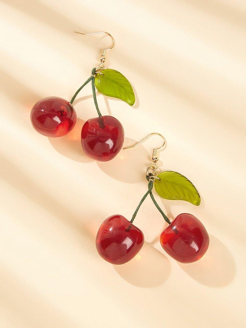 Cherry Design Drop Earrings 1pair | ROMWE