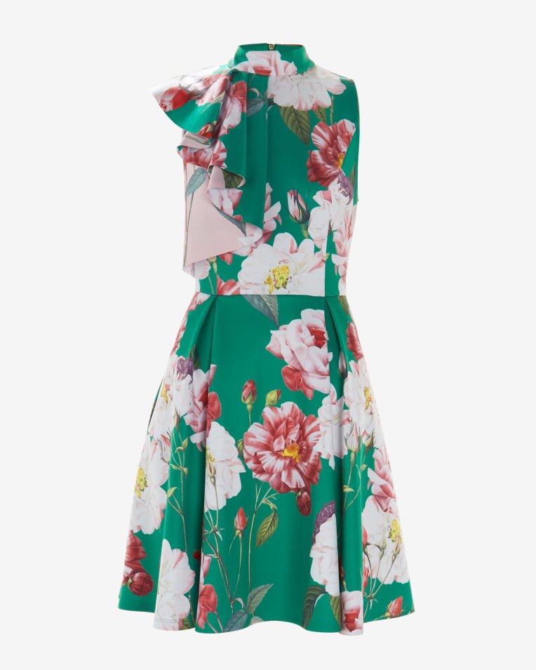 Iguazu ruffle neck skater dress - Bright Green | Dresses | Ted Baker ROW