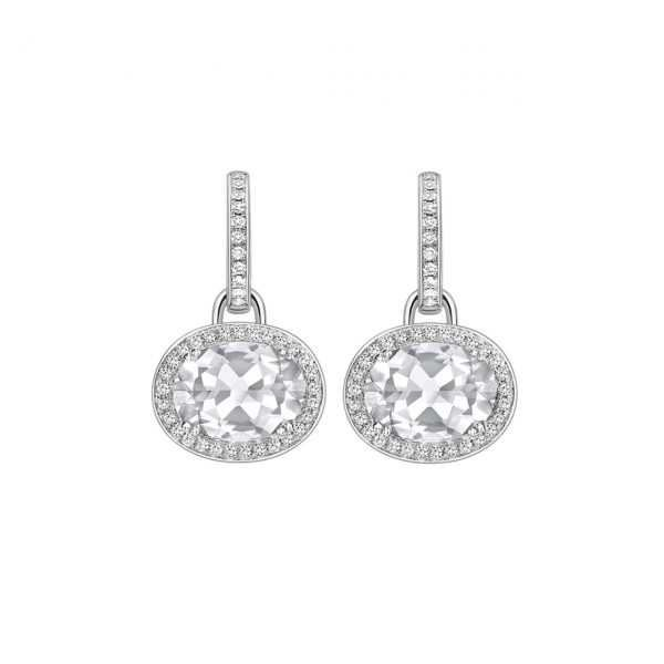 Kiki Classic White Topaz and Diamond Oval Drop Earrings - Kiki McDonough Jewellery - Sloane Square London | Kiki McDonough : Kiki McDonough Jewellery – Sloane Square London | Kiki McDonough