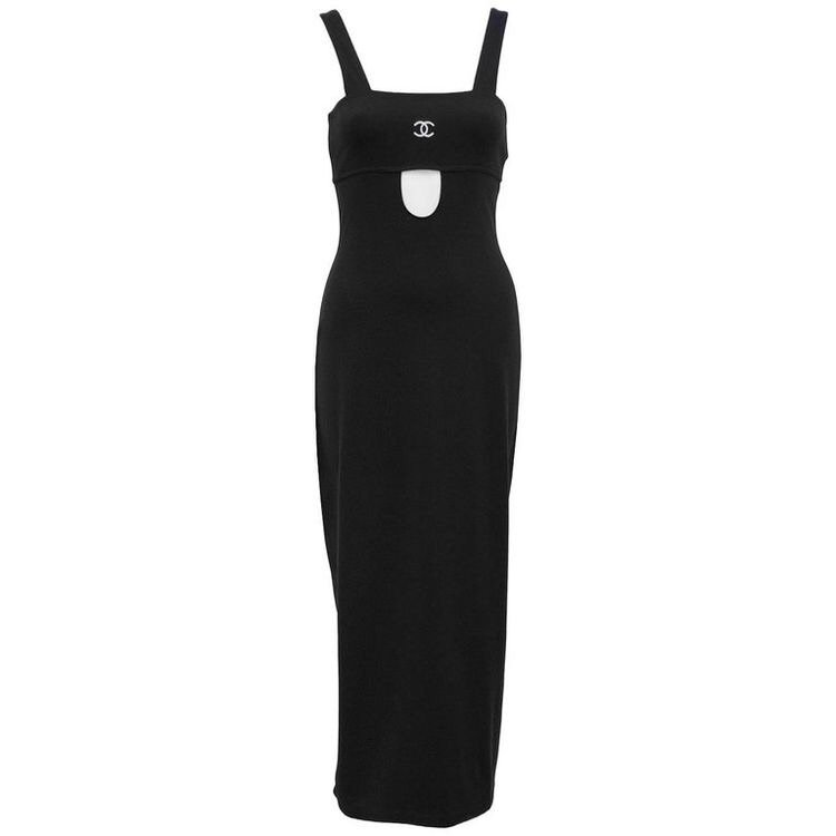 1998 spring Chanel black body conscious, ankle length dress