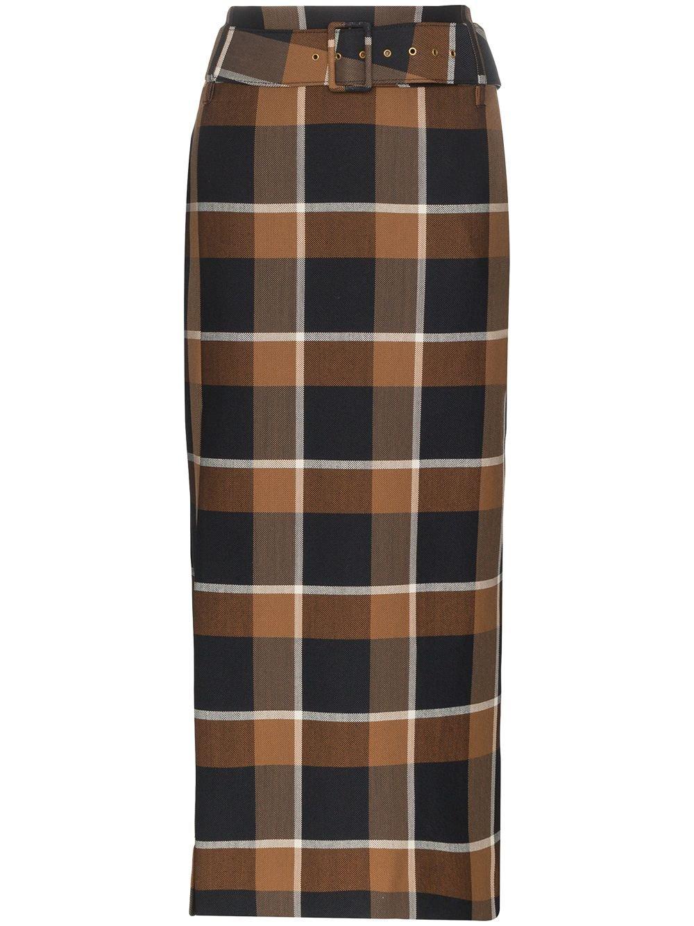 Staud Plaid Belted Midi Skirt | Farfetch.com