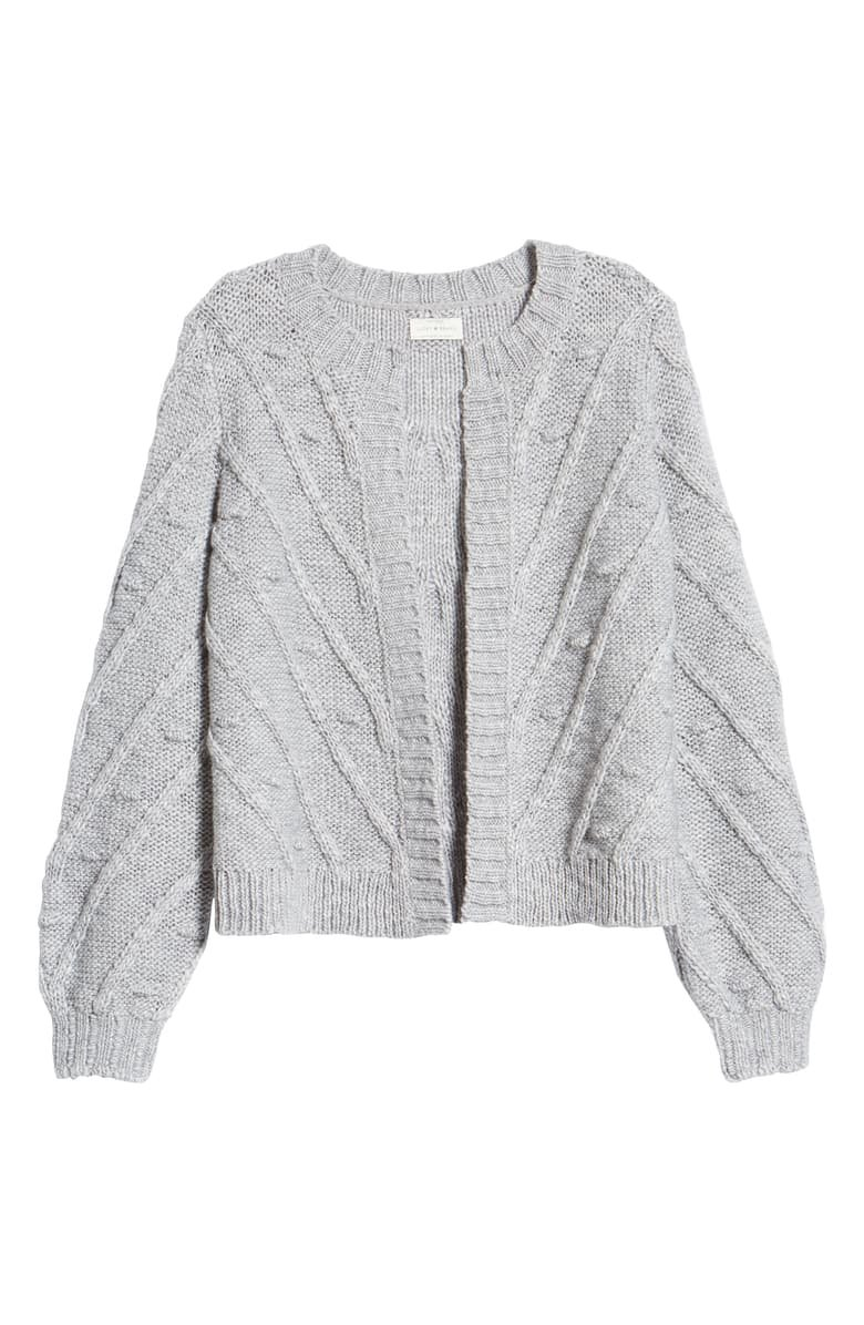 Lucky Brand Bobble & Cable Knit Cardigan grey