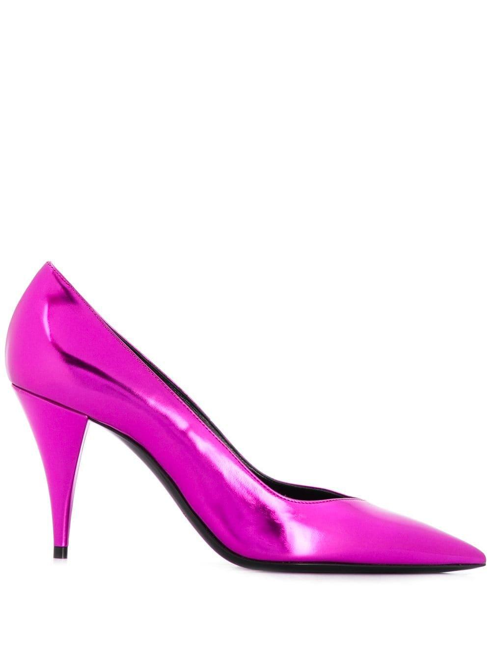 Pink Saint Laurent Pointy Toe Pumps | Farfetch.com