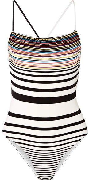 Mare Striped Crochet-knit Swimsuit - White