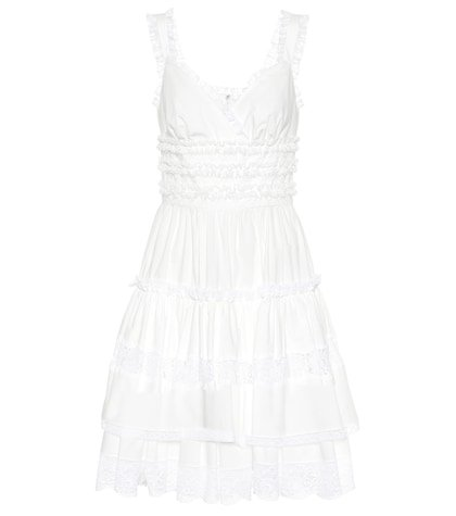 Lace-trimmed cotton minidress