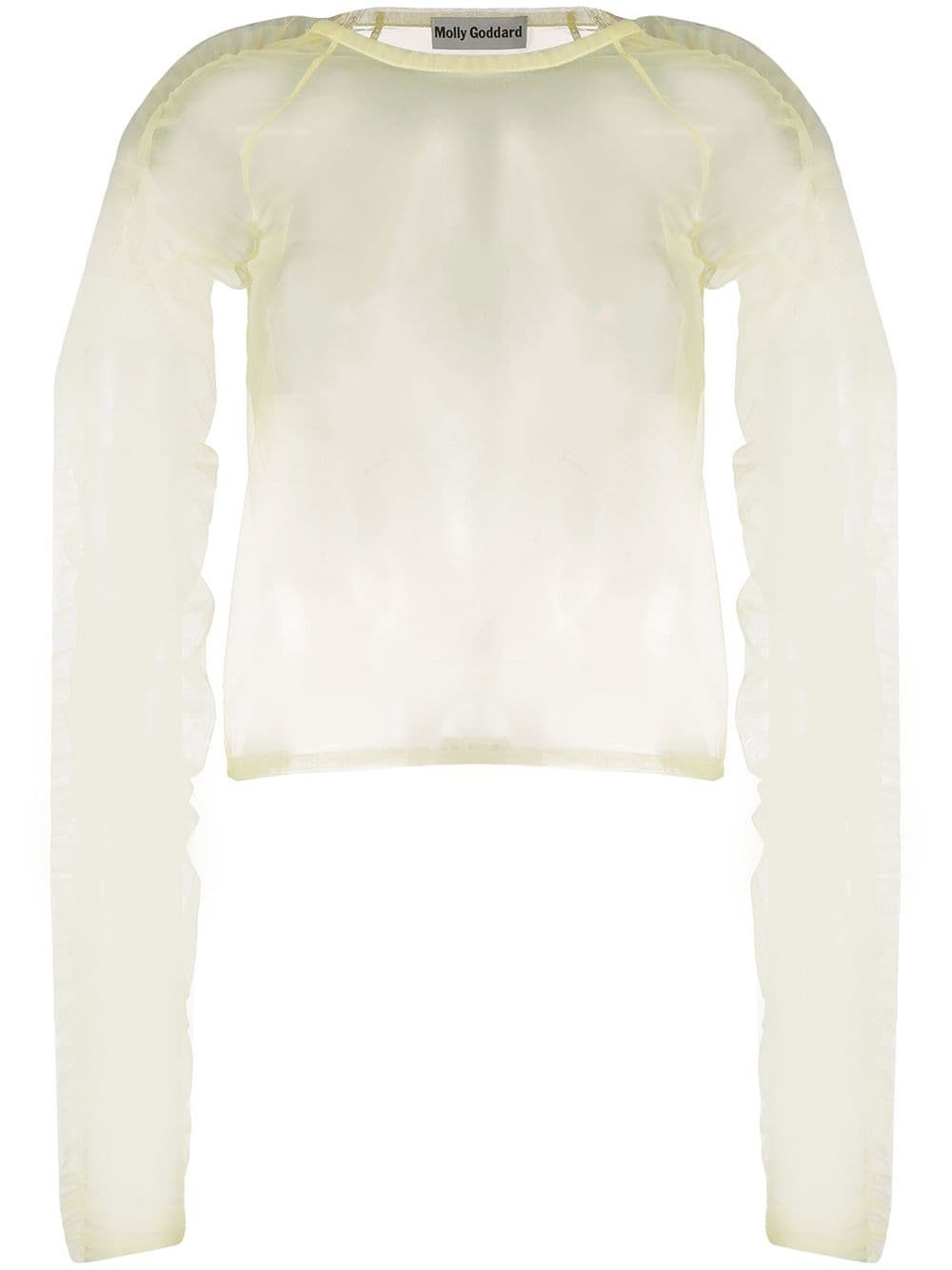 Molly Goddard ruched sleeve sheer blouse